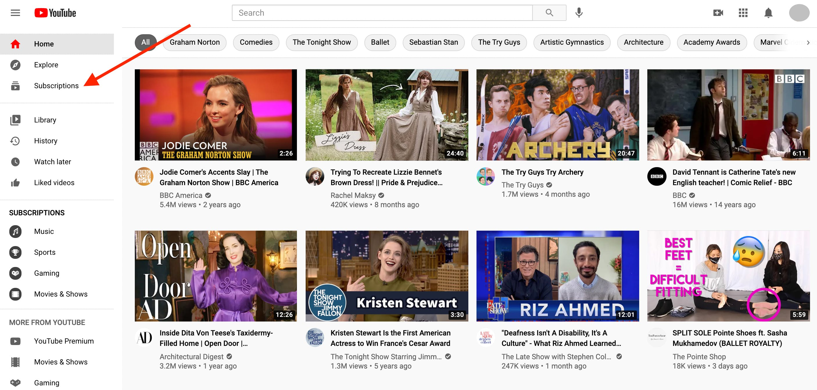 Arrow pointing to subscription button on YouTube homepage, from which you can access a view of all the channels you've subscribed to