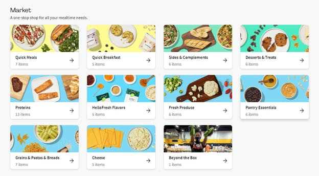 Market page offering complementary products.