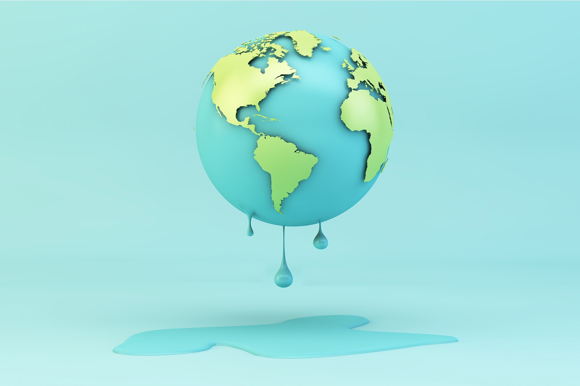 A cartoon model of the Earth that is melting. Below the floating Earth is a puddle. In this blog post, we examine how the topic of climate change is being discussed on social media.