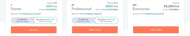 Hubspot's subscription options page.