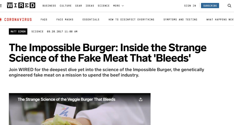 Impossible foodsin burgeri ansaitussa mediassa