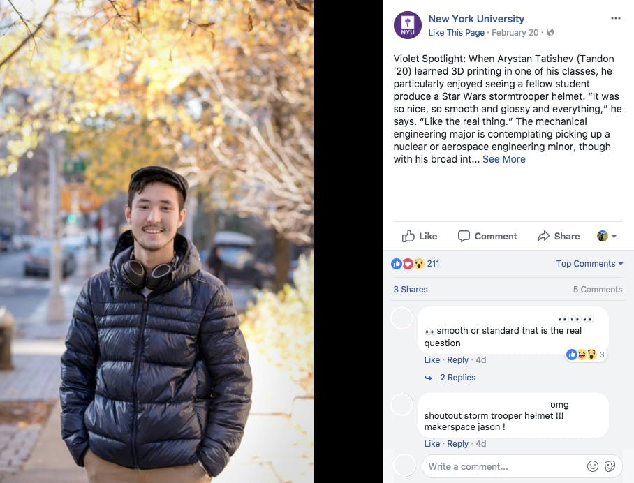 New York University Instagram Post