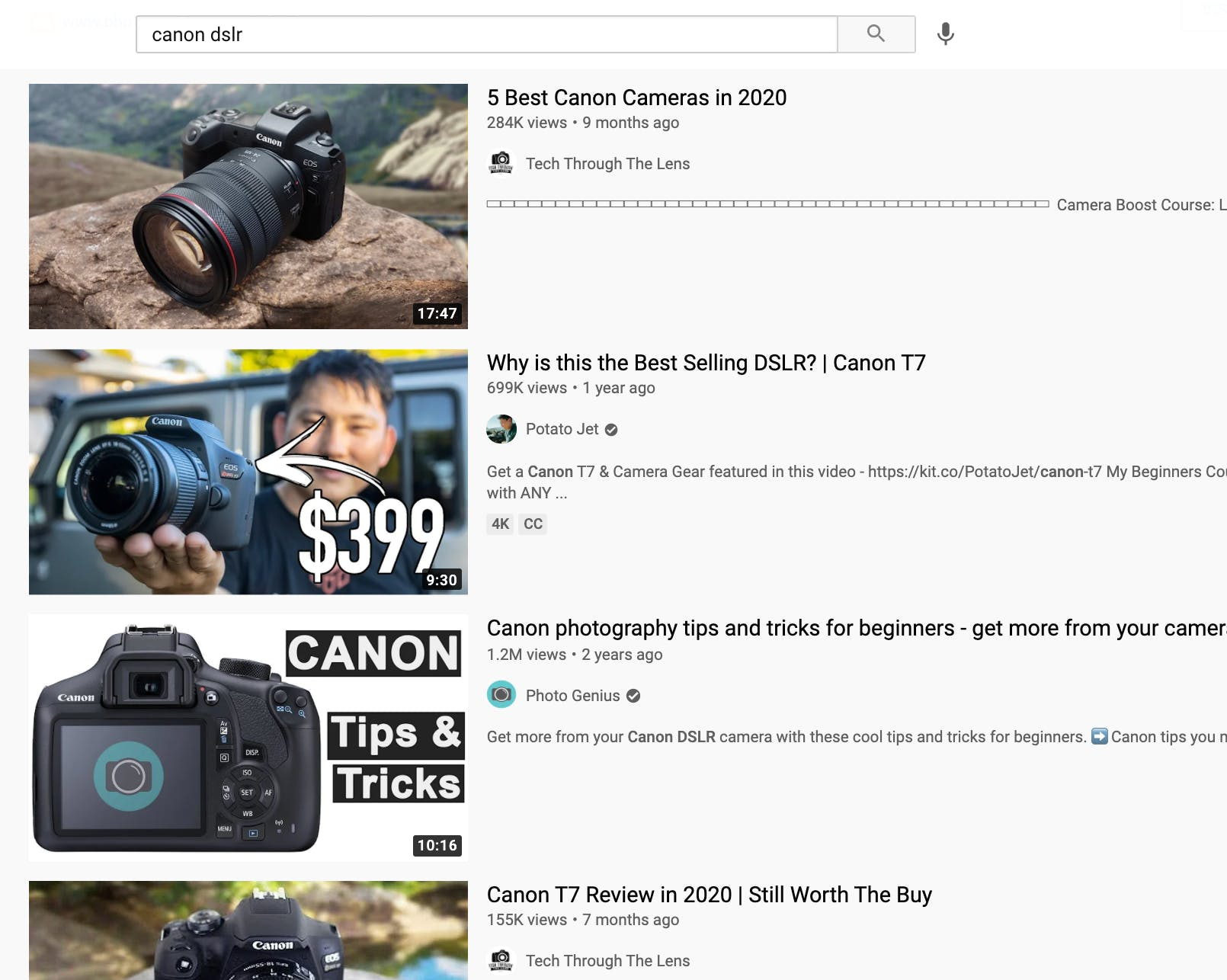 Search results for DSLR cameras on YouTube showing 4 videos from different channels
