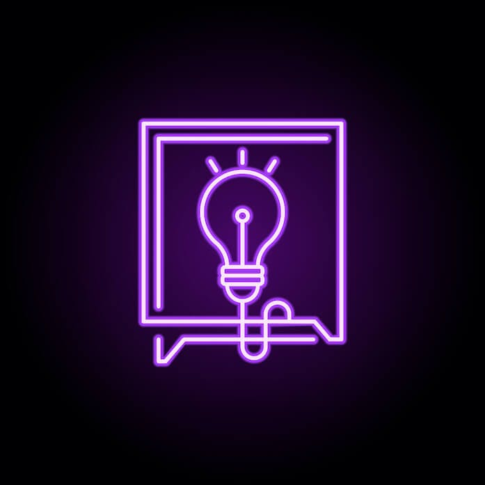 Pink neon icon on a black background displaying a lightbulb in a box