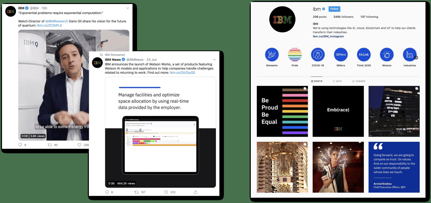 IBM social media pages: left: Twitter, right: Instagram