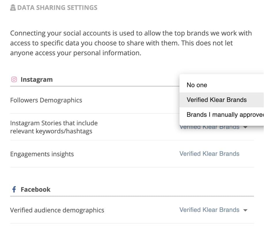 Kuvakaappaus vaikuttajan datan jakoasetuksista  Social Influencers -palvelusta