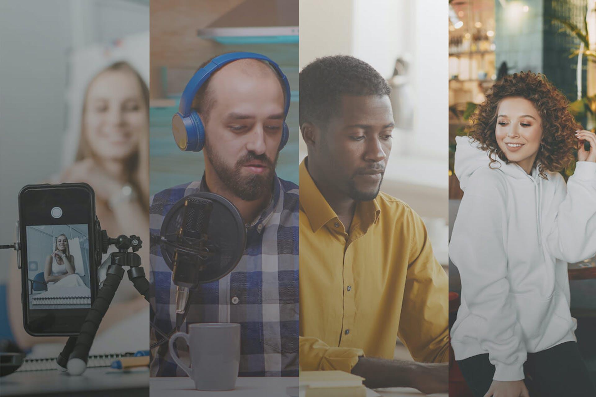 """Vous pouvez voir une coupe de quatre personnes différentes côte à côte. Un influenceur, un podcasteur, un marketeur et une jeune femme. Ceci est la couverture de notre livre électronique """"Le guide ultime des médias possédés, gagnés, payés et partagés"""""""