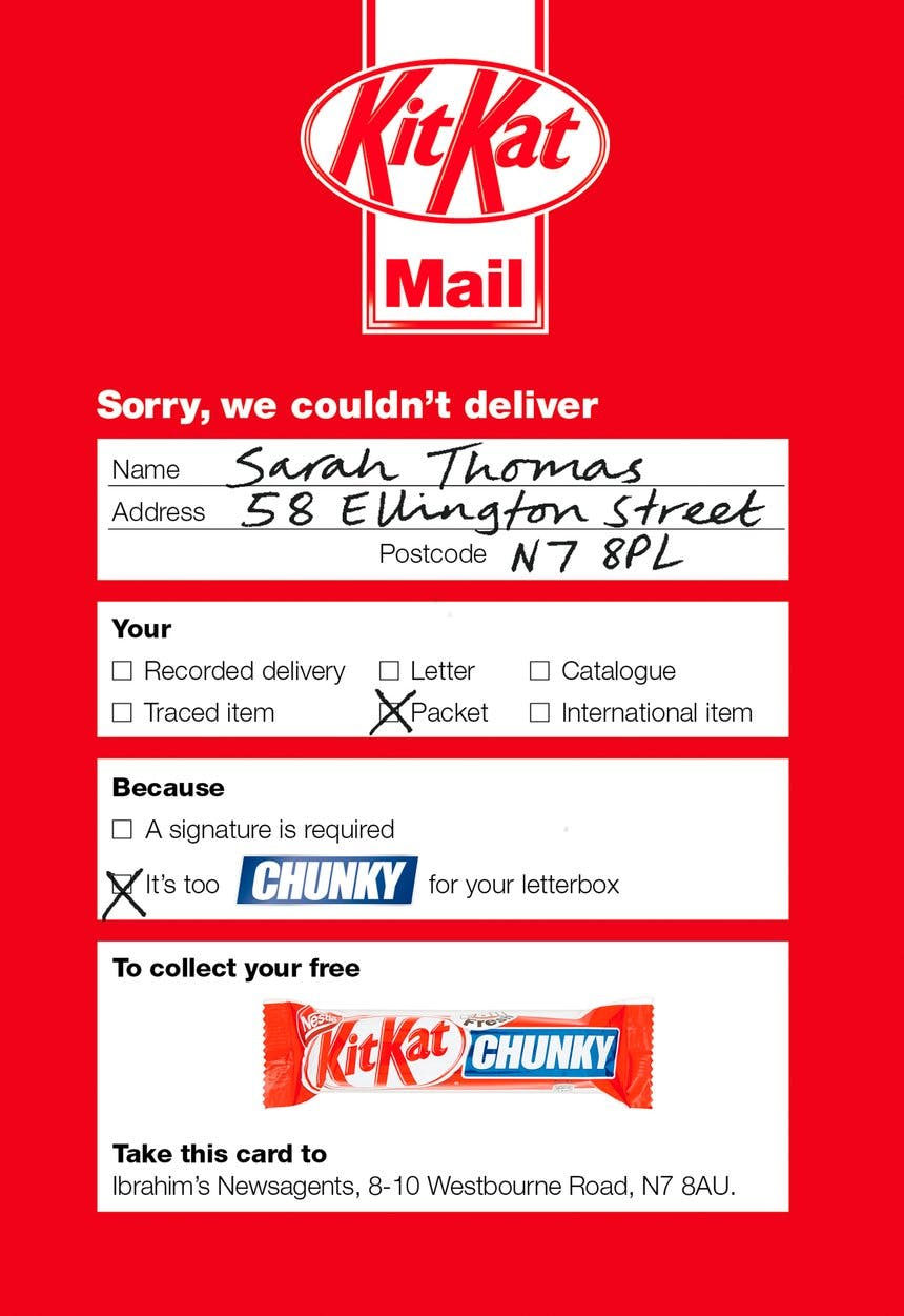 A promotional mailing that KitKat sent to people letting them know that they could pick up a sample of the new candy at a local newsagent