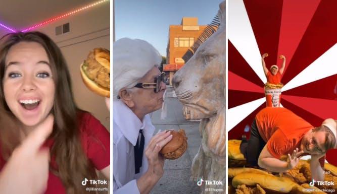 TikTok influencers promoting KFC chicken sandwich