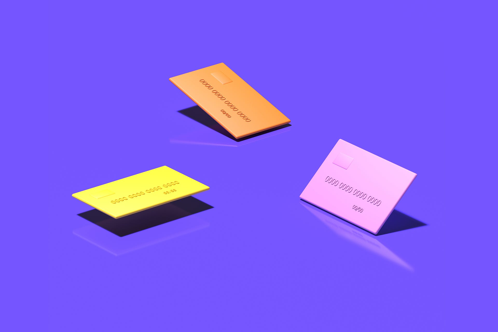 Three cartoon renderings of credit cards in pink, orange and yellow on a solid purple background. If your influencer marketing campaign is successful, then your customers are likely to pull out their credit cards for real.