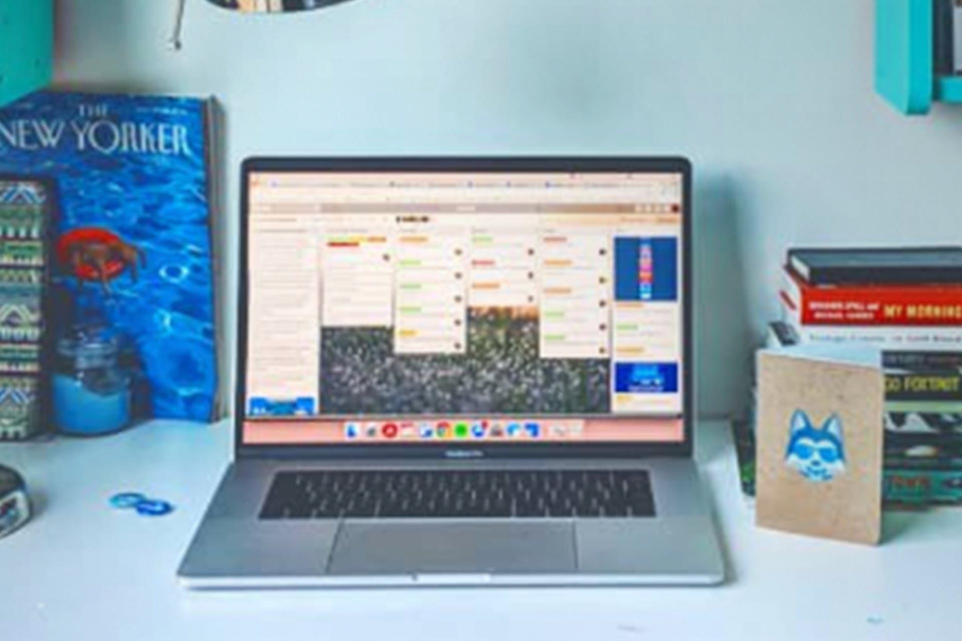 Saas social media laptop on desk