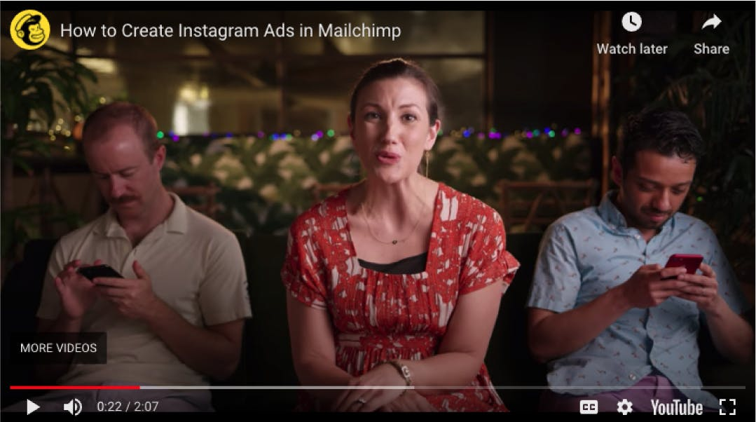 A woman in red introduces how to create Instagram ads on Mailchimp's platform