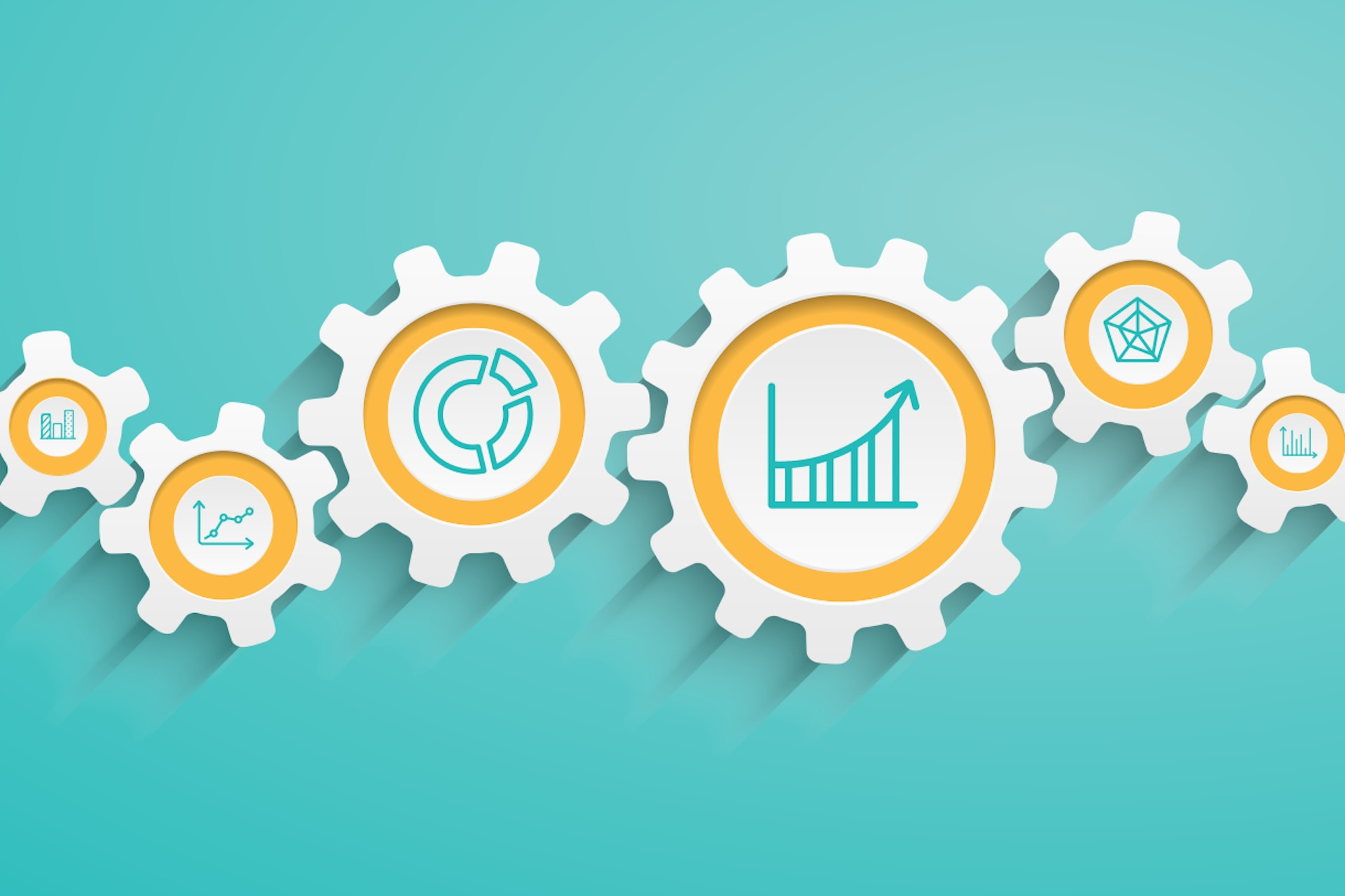 gears with analytical icons