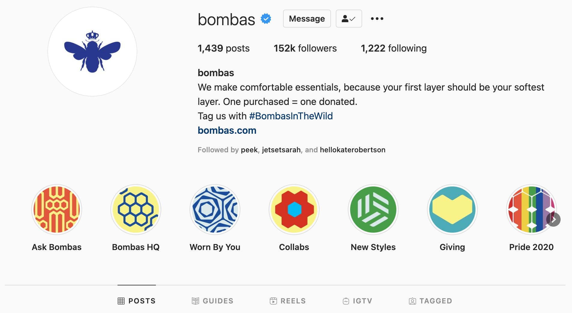 Colorful highlights cover images on an apparel brands Instagram profile