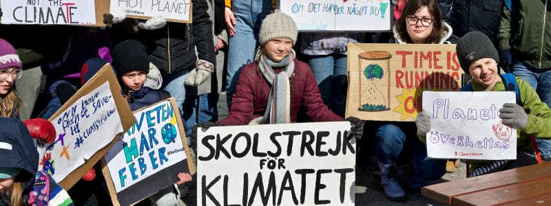 Greta Thunberg stands amongst a group of individuals holding signs about climate change