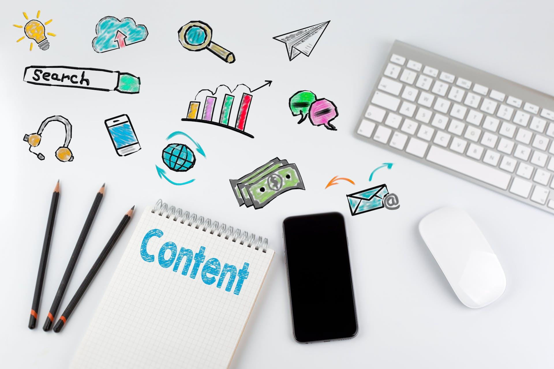 Content auf Block geschrieben auf Schreibtisch Smartphone Maus Tastatur