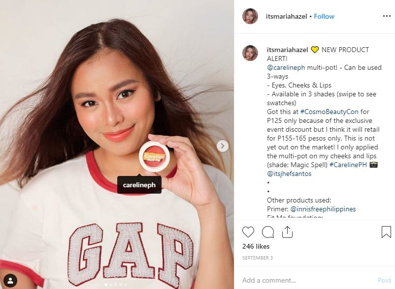 Micro influencer Maria Hazel advertising cosmetics on Instagram