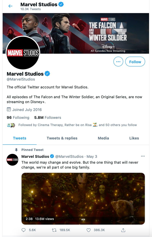 Marvel Twitter account showing pinned Tweet