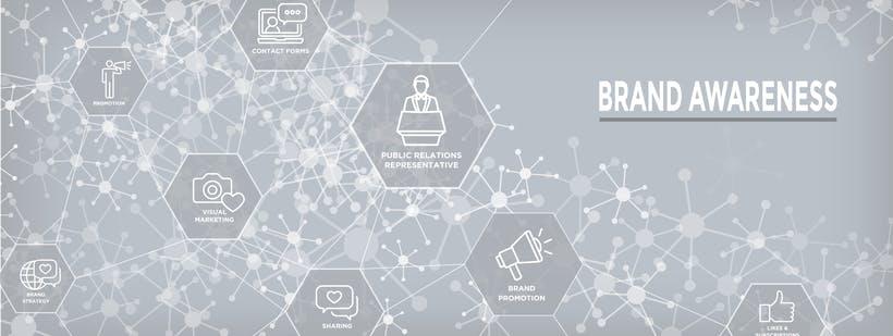 Netzwerk Icons grau Aufschrift Brand Awareness