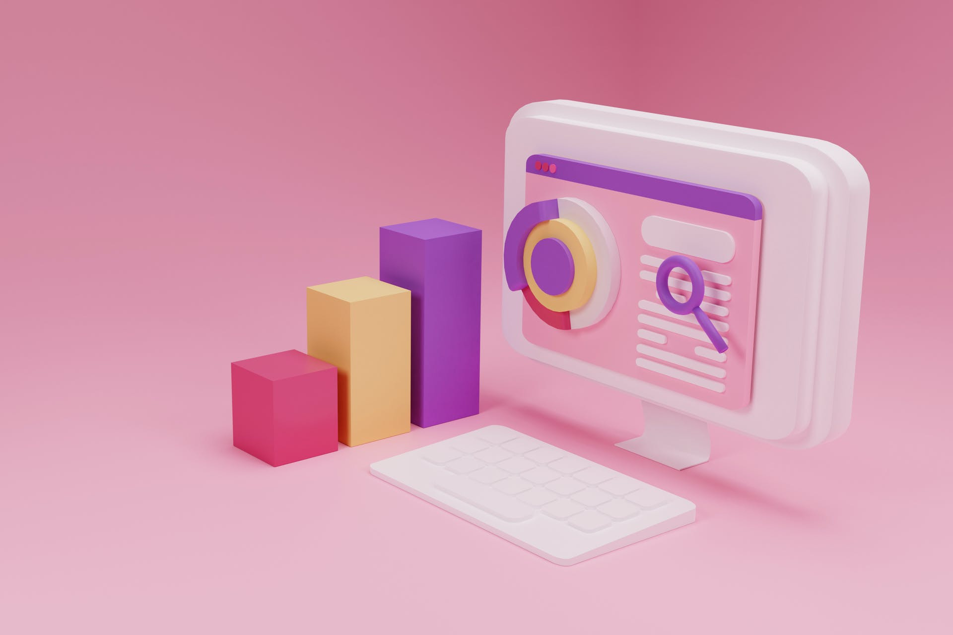 A computer screen with 3D charts coming out