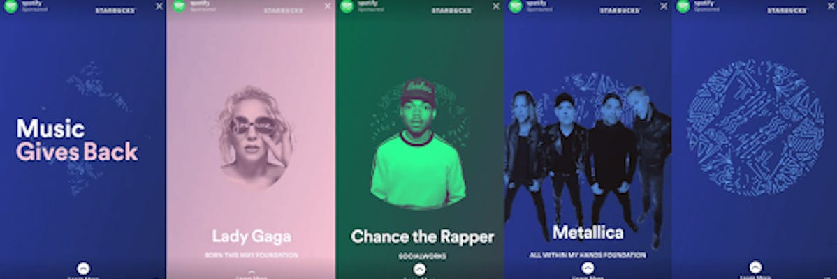 Spotify and Starbucks collaborate on a series of ads featuring artists such as Lady Gaga, Chance the Rapper and Metallica
