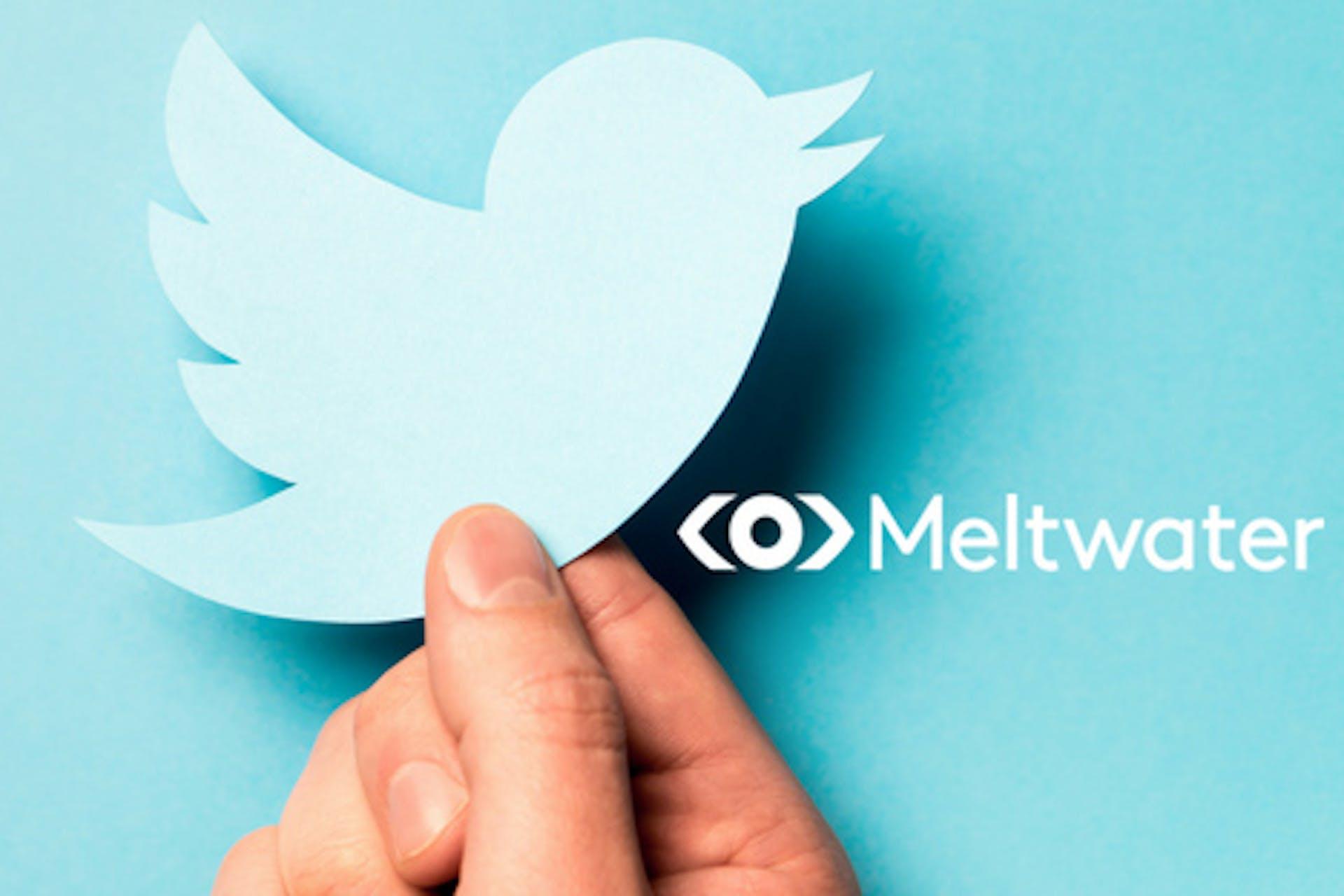 Twitter Icon in Hand Aufschrift Meltwater