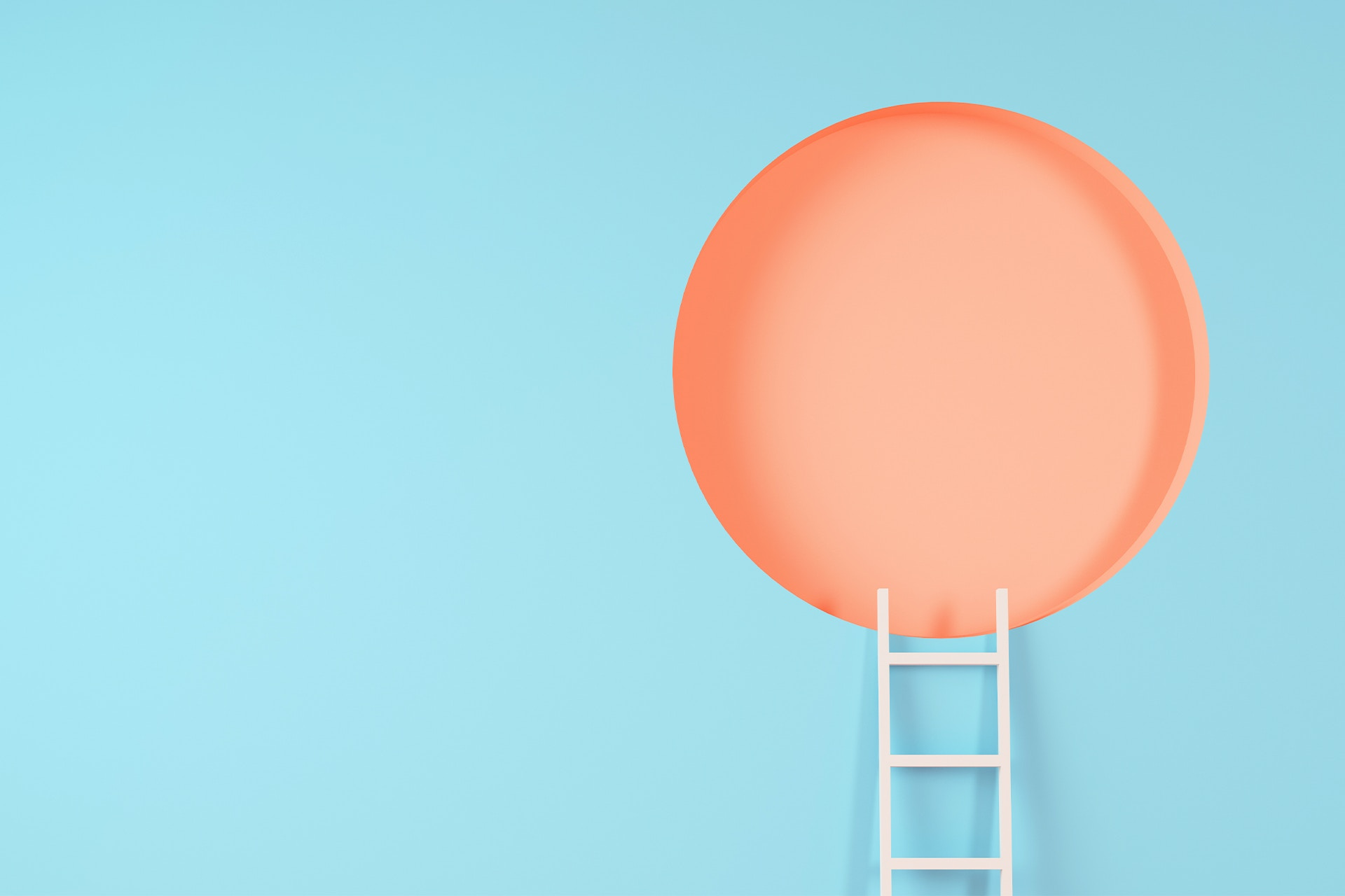 A white ladder placed against a light blue wall that is leading up to a window that is a giant orange circle. The abstract image feels aspirational, like the idea of a positive employer brand image that employees and companies strive for