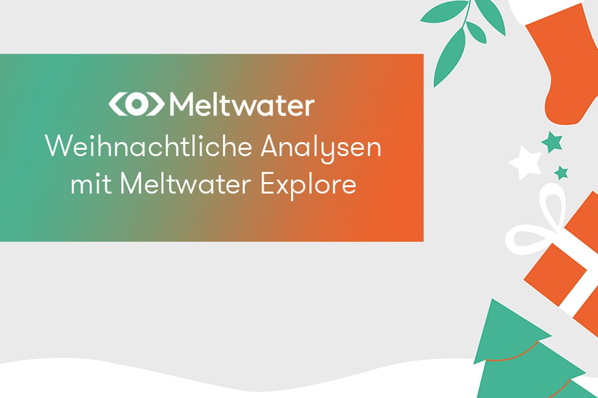 """Weihnachtlicher Hintergrund mit der Aufschrift """"Weihnachtliche Analysen mit Meltwater Explore"""" als Header für einen Beitrag mit Social Listening Analysen zu Weihnachten"""