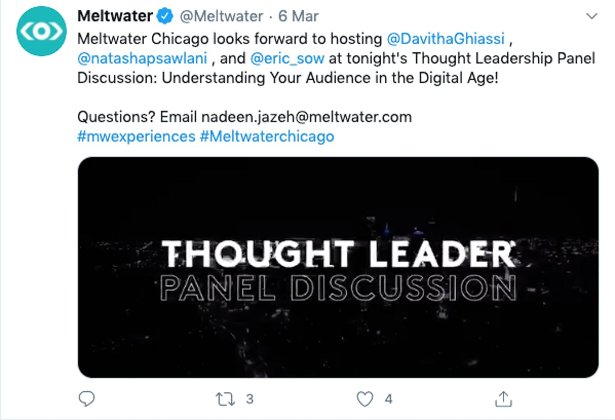 An example of the same video of a thought leader panel discussion in Chicago being used in a tweet