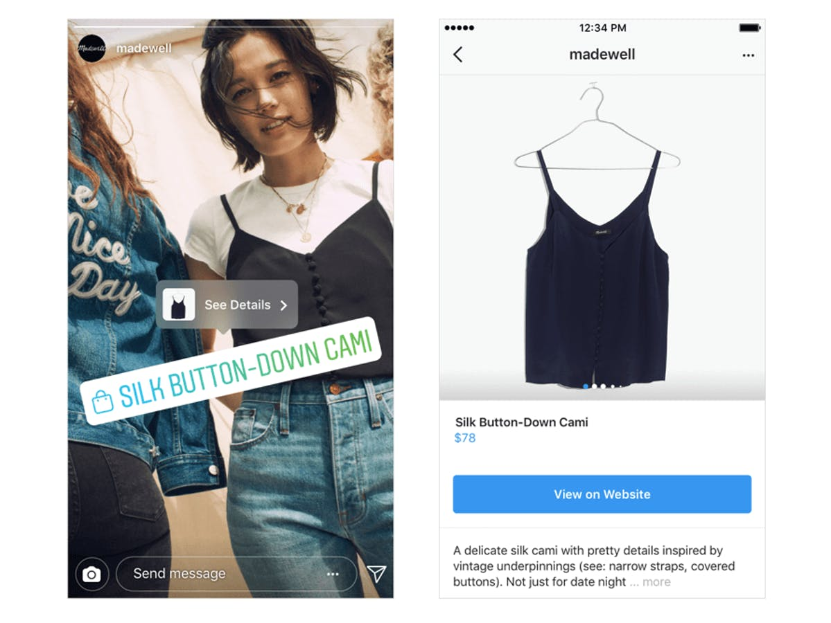 Madewell's Instagram Stories ad features shoppable products