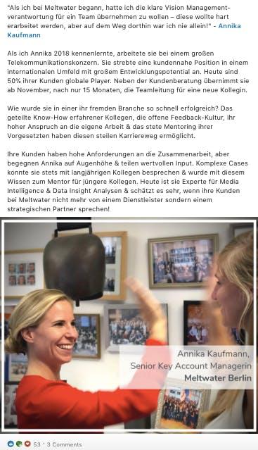 LinkedIn Screenshot Annika Kaufmann Post