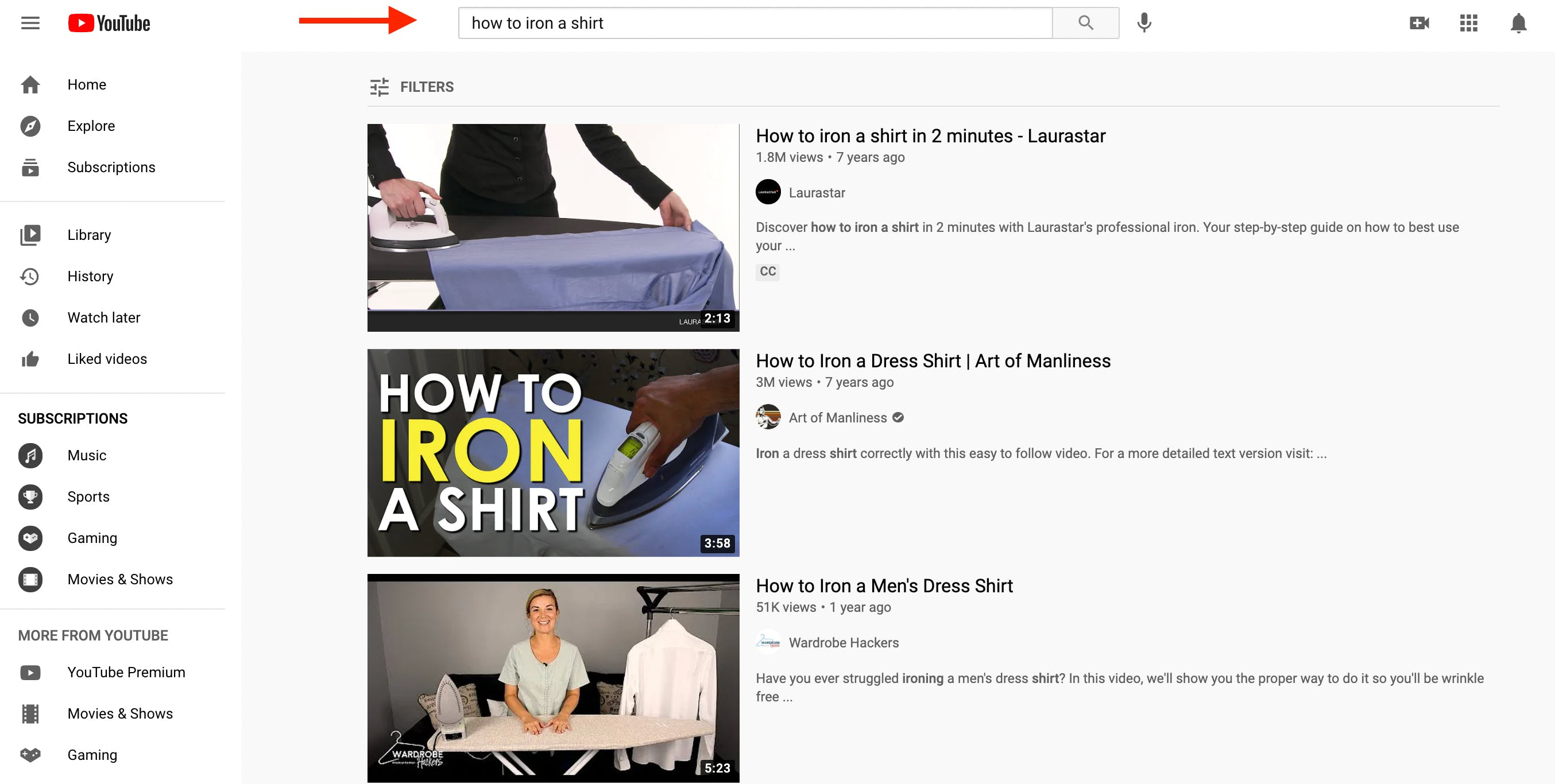 """YouTube organic search results for the keyword """"how to iron a shirt"""""""