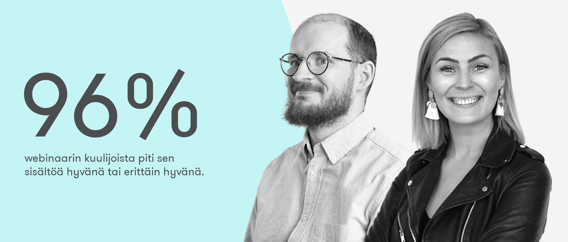 Sosiaalinen media vuonna 2021 -webinaarin kuulijoista 96% piti sitä hyvänä tai erittäin hyvänä