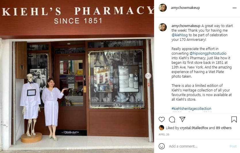 Nano influencer Amy Chow in front of Kiehl store