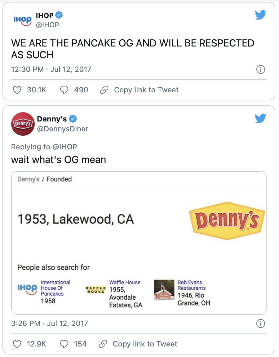 """A Twitter exchange between IHOP and Dennys where the two brands try to claim their place as the """"OG of pancakes""""."""