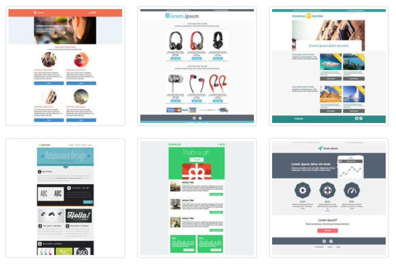 Man sieht einen Screenshot der Themezy Newsletter Templates, die ihr für eure internen Newsletter verwenden könnt.