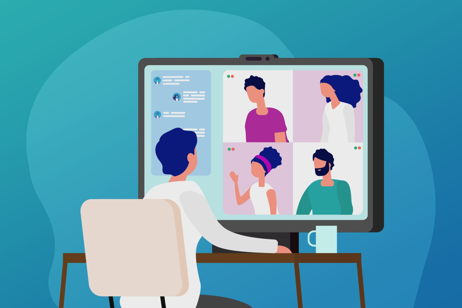 Illustration of a person in a virtual meeting against a blue background