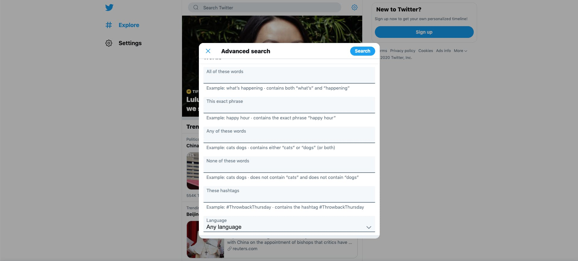 Advanced search parameters on Twitter: keywords, hashtags, languages