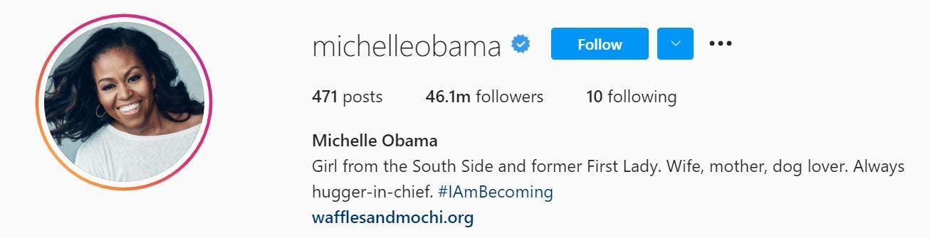michelle obama instagram profile picture