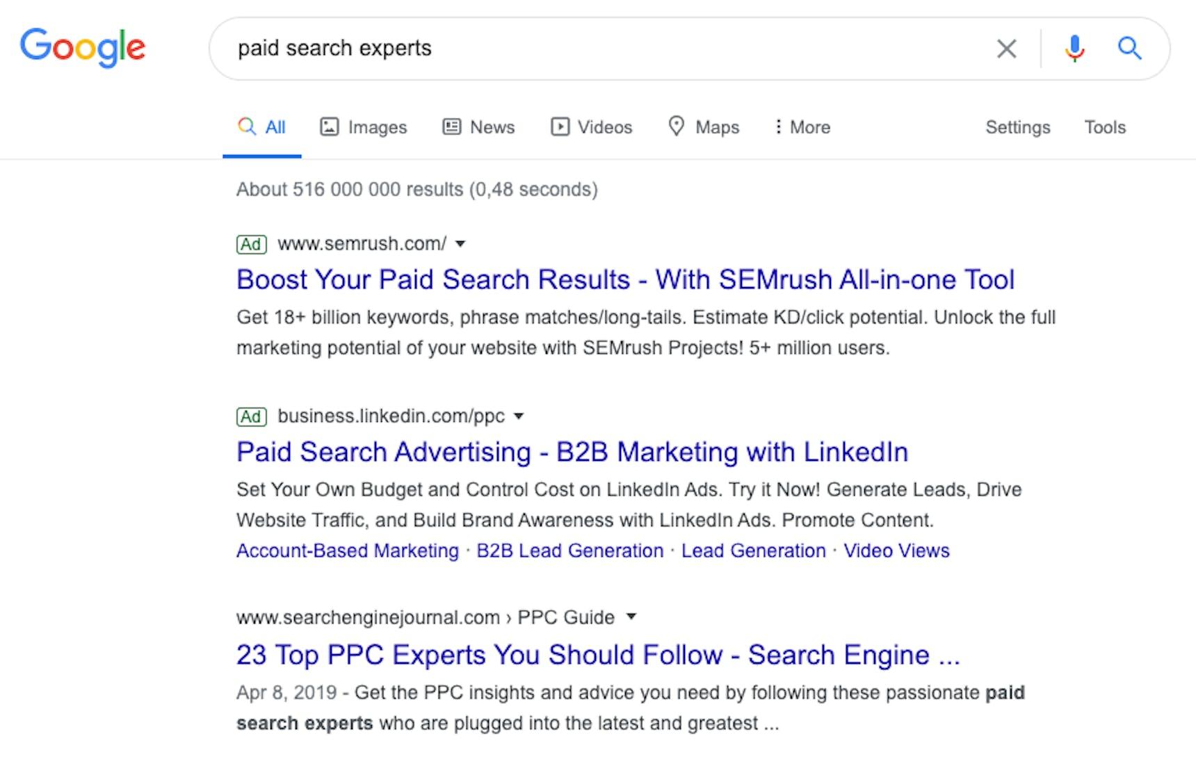 Vous pouvez voir un screenshot d'une recherche Google.