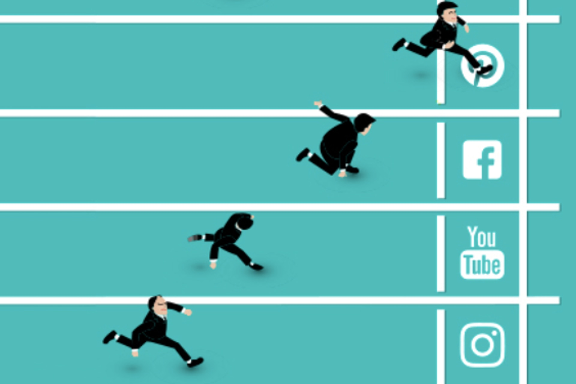 graphic image of athletic track with social media icons and people running towards finish line