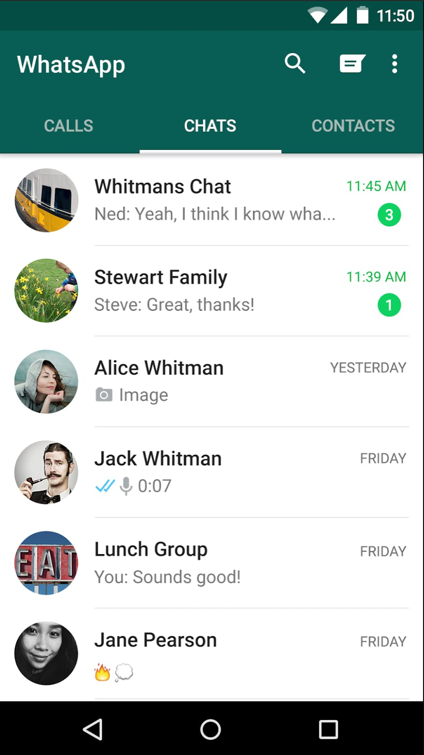 A screenshot of the home screen within WhatsApp that displays all of your active conversations.