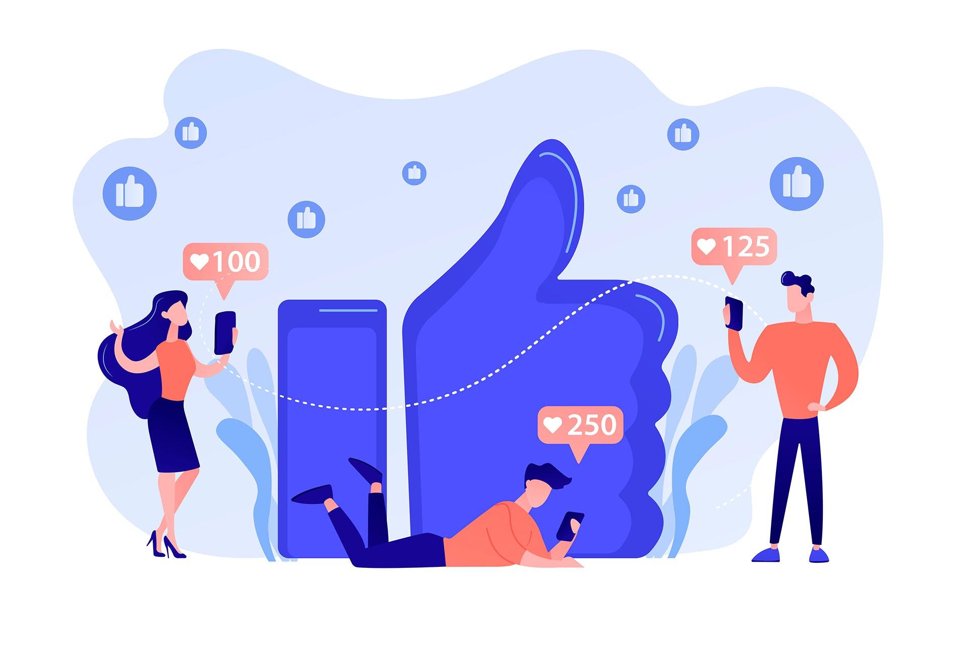 Sosiaalisen median käyttäjiä suuren Facebookin like-peukalon ympärillä