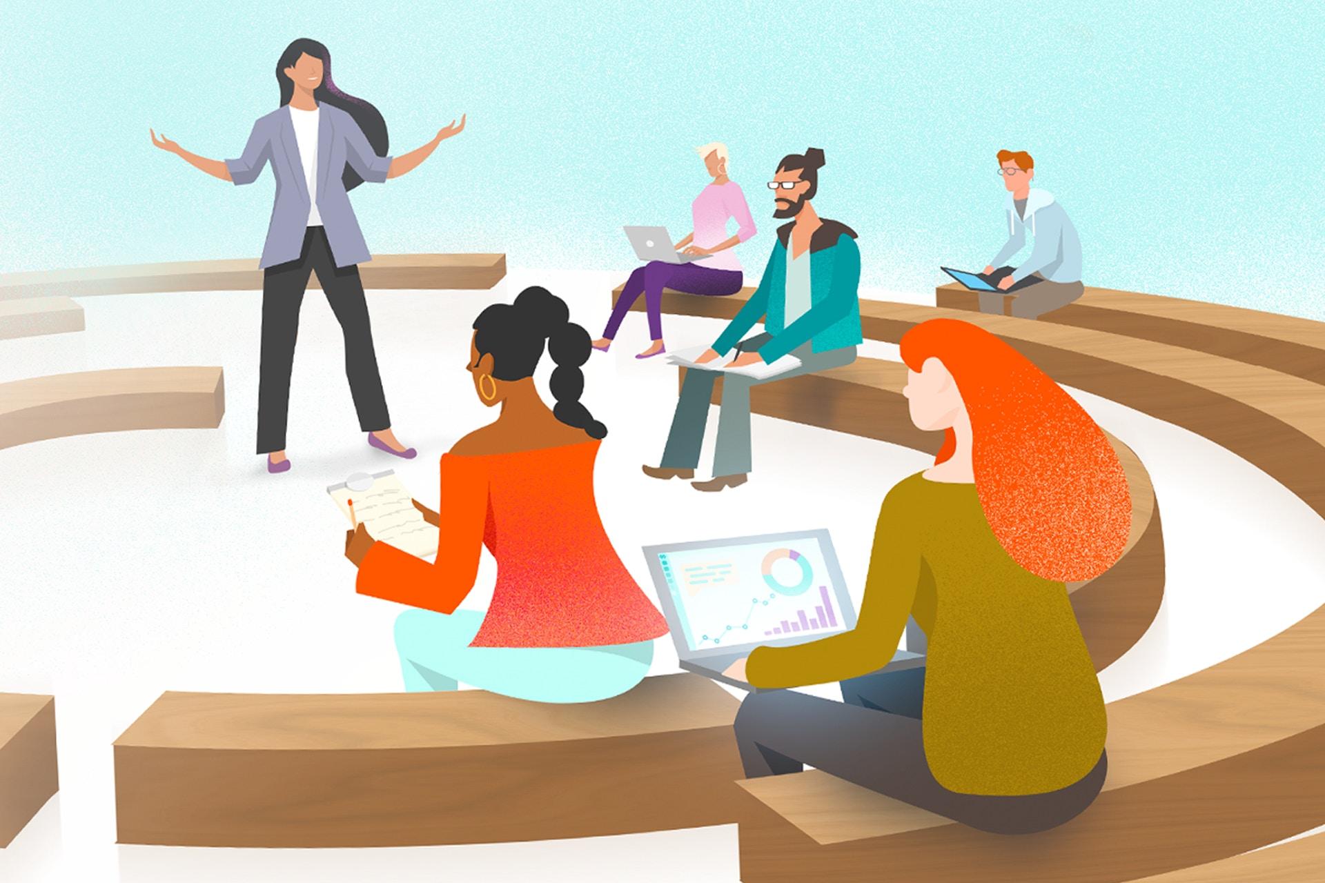 Piirroskuva ihmisistä kuuntelemassa esitelmää.