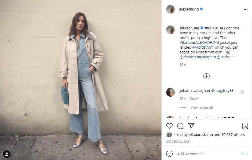 Instagram post of Alexa Chung wearing Barbour coat