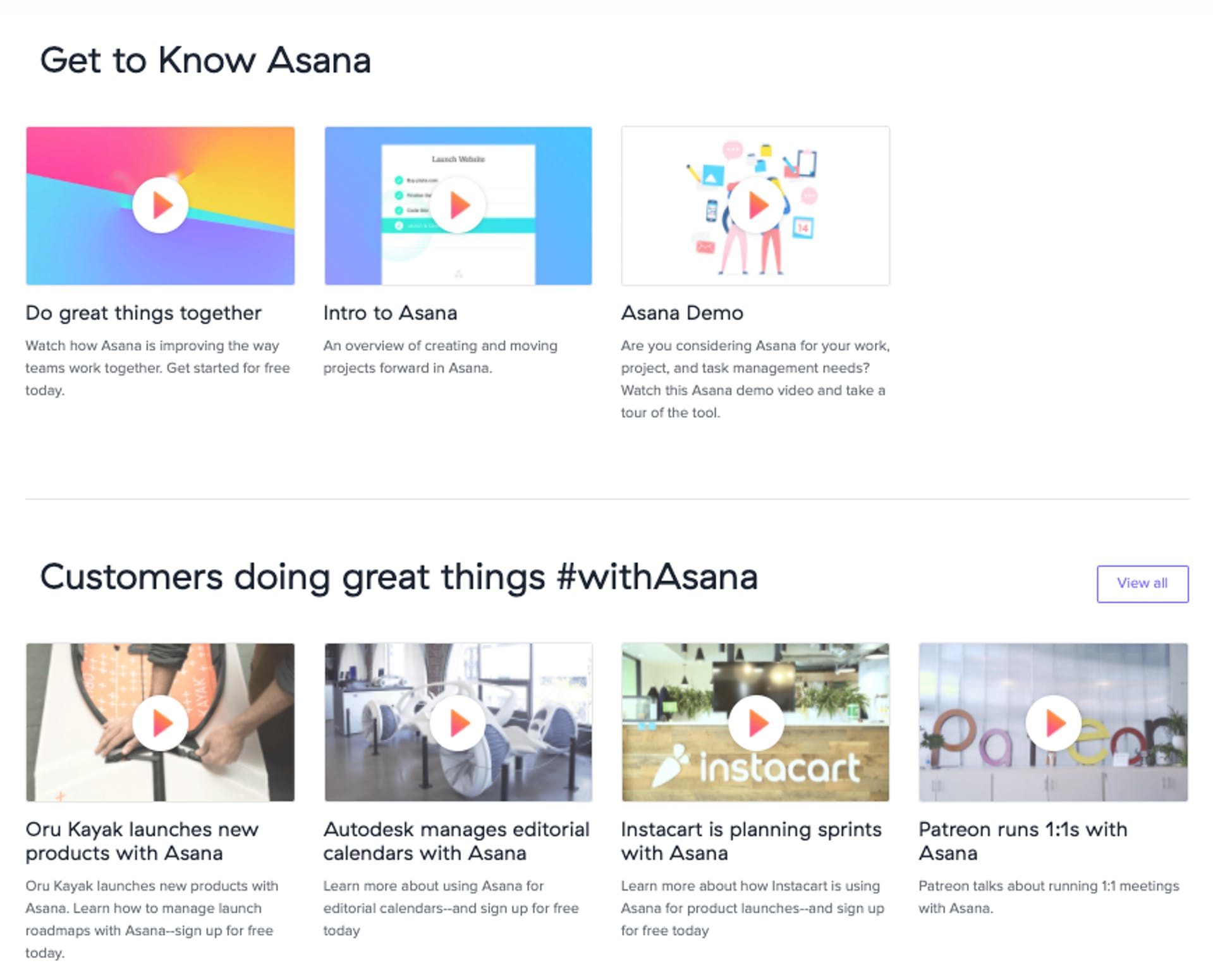Asana's video page hosts its brand and product videos as well as client testimonials