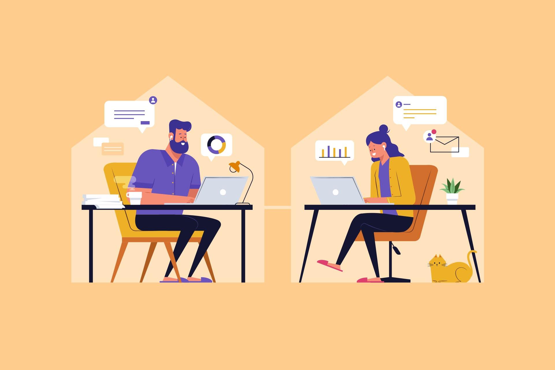 Piirroskuva kuvaa korona-ajan sisäistä viestintää. Kaksi henkilöä työskentelee omissa taloissaan etänä ja kommunikoi keskenään sähköisesti.