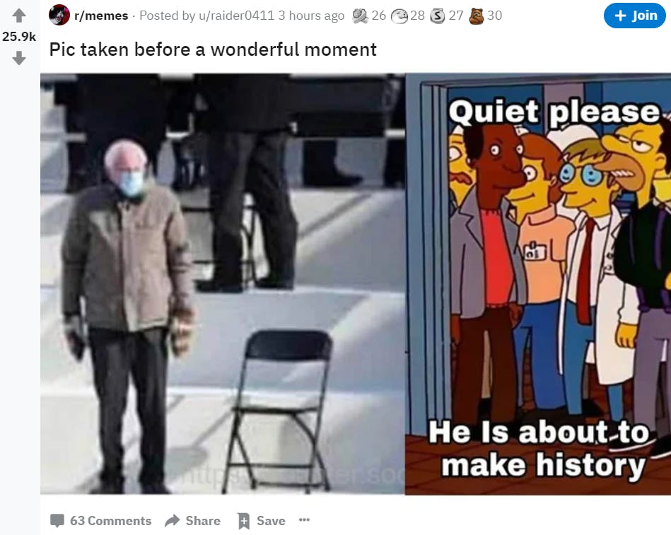 screenshot of reddit marketing and meme discussion with bernie sanders