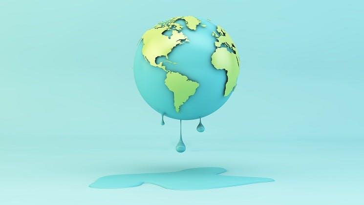 A melting world on a blue background