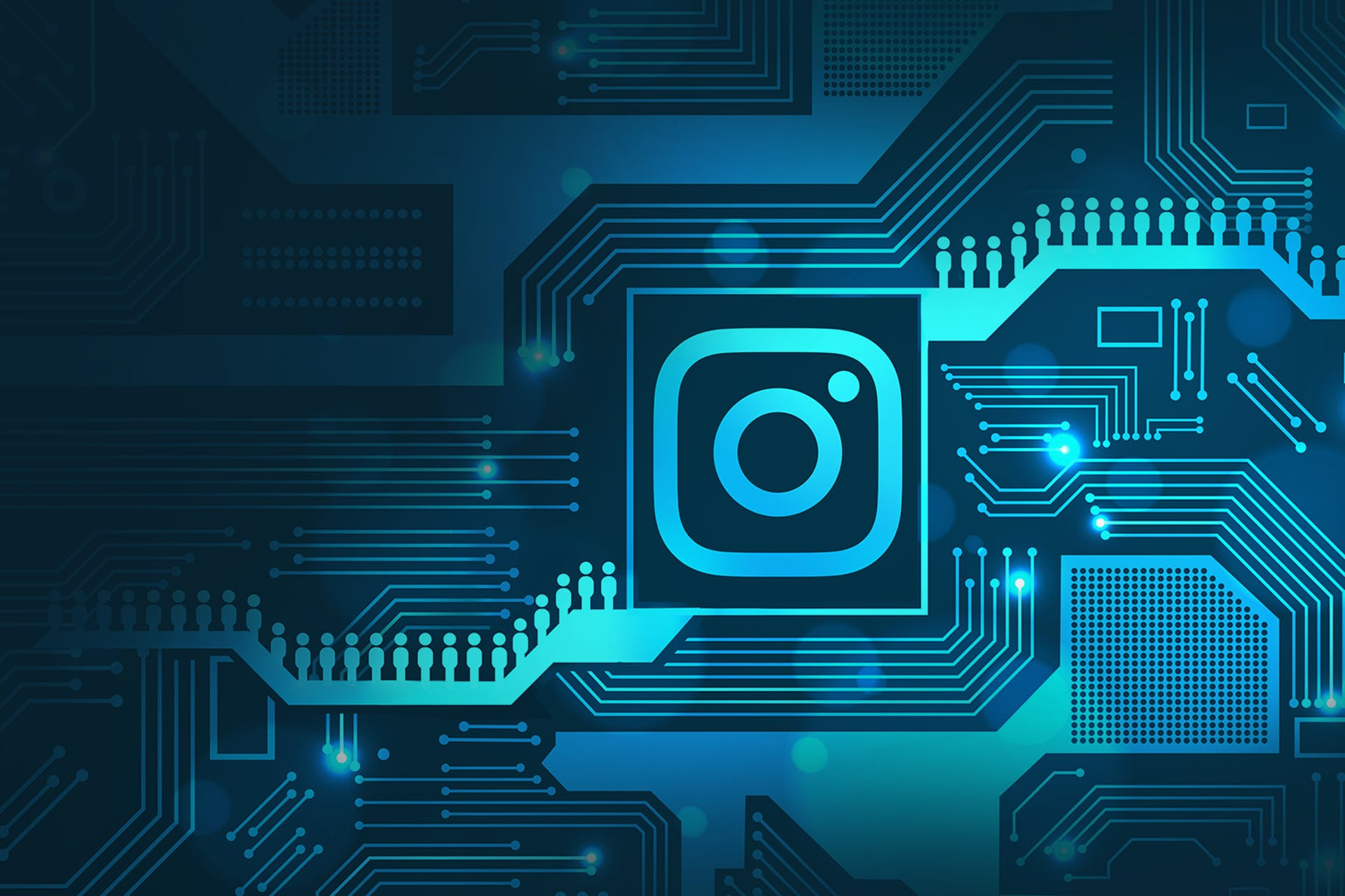 Abstract motherboard graphic with Instagram logo and rows of people.